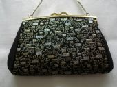 1970's Black Bag with Gold and Silver Pattern(Sold)
